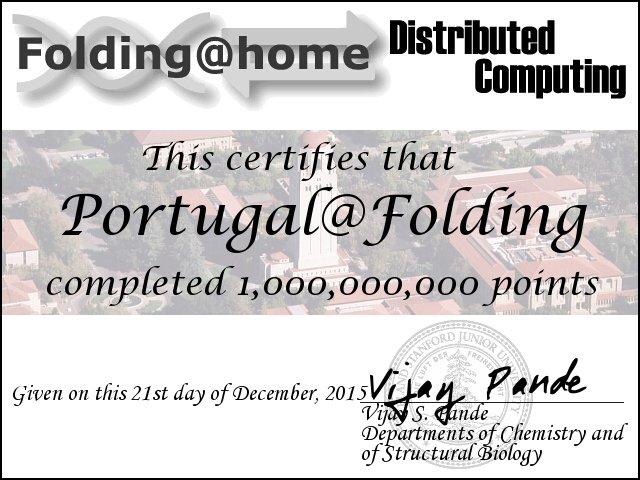 Certificado Portugal@Folding Mil Milhões de Pontos